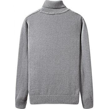 Men's Winter Long Sleeved Turtleneck Sweater - GRAY L