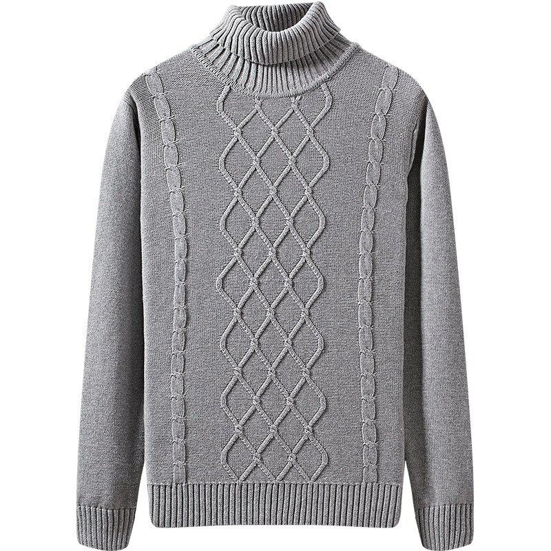 Men's Winter Long Sleeved Turtleneck Sweater - GRAY 3XL