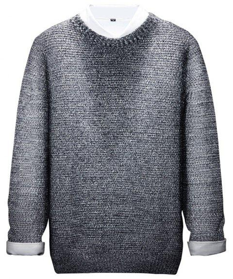 Long Sleeved Round Collar Warm Leisure Sweater - GRAY XL