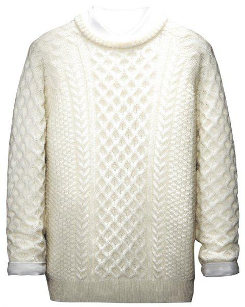 Autumn and Winter Long Sleeved Round Collar Warm Leisure Sweater - WHITE L