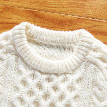 Autumn and Winter Long Sleeved Round Collar Warm Leisure Sweater - WHITE M