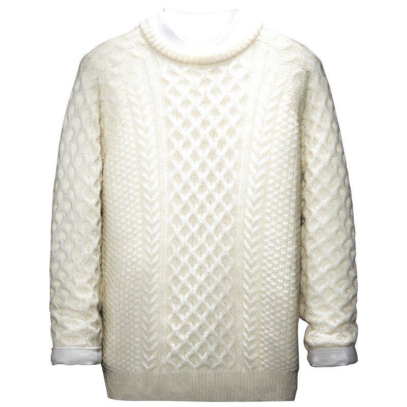 Autumn and Winter Long Sleeved Round Collar Warm Leisure Sweater - WHITE 3XL