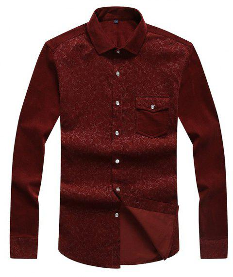 Autumn and Winter Men'S Leisure Body Fashion Shirt - WINE RED L