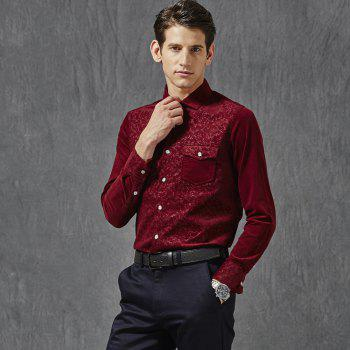 Autumn and Winter Men'S Leisure Body Fashion Shirt - WINE RED 4XL