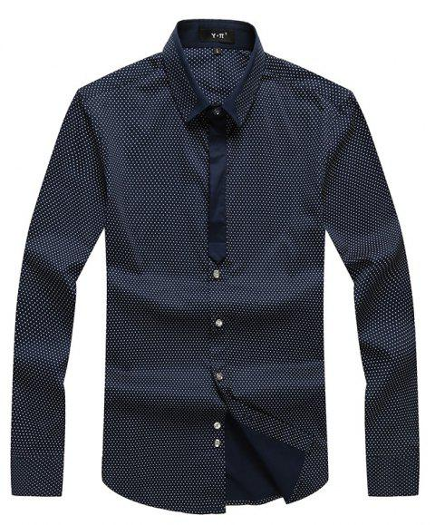 Autumn and Winter Men's Spotted Shirt Fashion and Leisure Bottoming Blouses - DEEP BLUE 2XL