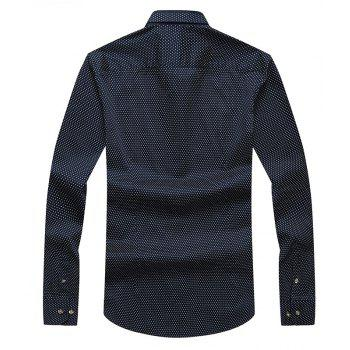 Autumn and Winter Men's Spotted Shirt Fashion and Leisure Bottoming Blouses - DEEP BLUE M