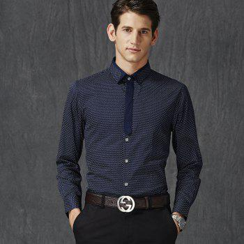 Autumn and Winter Men's Spotted Shirt Fashion and Leisure Bottoming Blouses - DEEP BLUE 3XL
