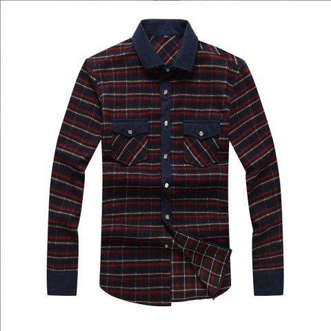 Autumn and Winter Men's Casual Fashion Blouse Professional Dress Shirt - RED XL
