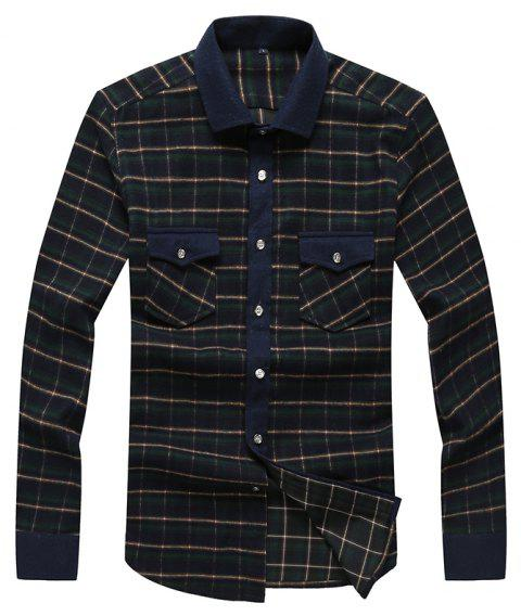 Autumn and Winter Men's Casual Fashion Blouse Professional Dress Shirt - GREEN M