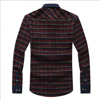 Autumn and Winter Men's Casual Fashion Blouse Professional Dress Shirt - RED M