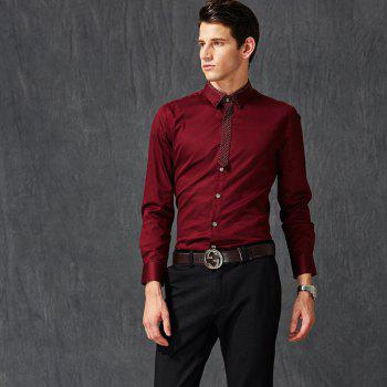 Autumn and Winter Men's Pure Color Leisure Fashion Blouse Professional Dress Shirt - WINE RED 2XL
