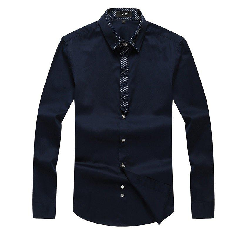 Autumn and Winter Men's Pure Color Leisure Fashion Blouse Professional Dress Shirt - DEEP BLUE L