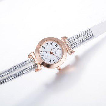 Fanteeda FD094 Women Arabic Numbers Rhinestones Wrist Watch with Flowers - WHITE