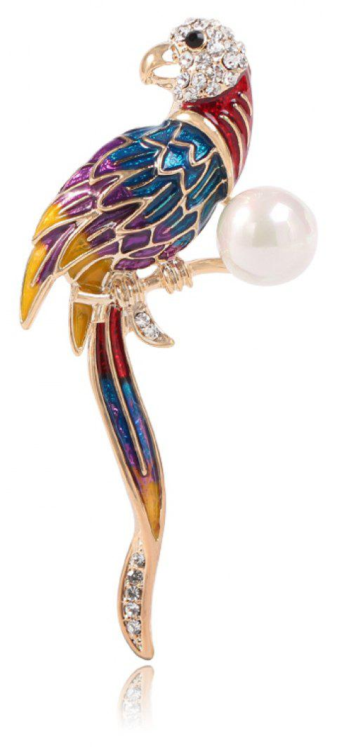 Fashionable Dress Is Decorated with A Blue Parrot Brooch - COLORMIX