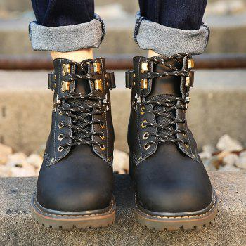 New Genuine Leather High-Cylinder Tooling Boots - BLACK 41