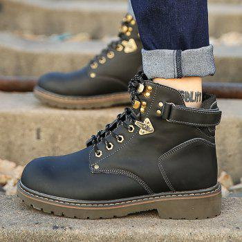 New Genuine Leather High-Cylinder Tooling Boots - BLACK 42