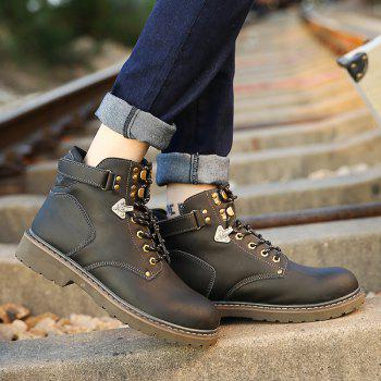 New Genuine Leather High-Cylinder Tooling Boots - BLACK 39