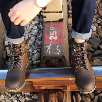 New Genuine Leather High-Cylinder Tooling Boots - BROWN 43