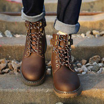 New Genuine Leather High-Cylinder Tooling Boots - BROWN 44