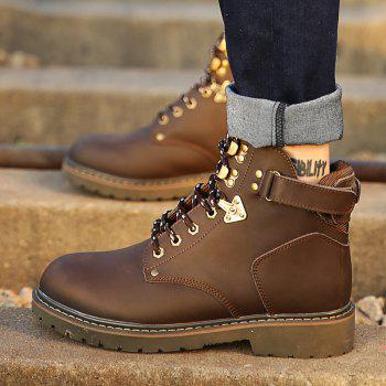 New Genuine Leather High-Cylinder Tooling Boots - BROWN 42