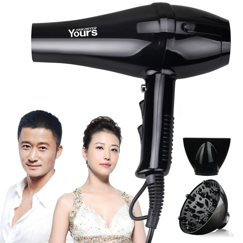 YOURS Hair Dryer 2000W Powerful Dryer Home Use Salon Quality Professional Ionic Hair Blower YR-8968 Black - BLACK