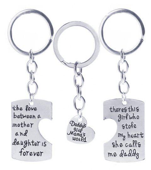 3pcs Alloy Home Combination Key Ring Suit Keychain - SILVER