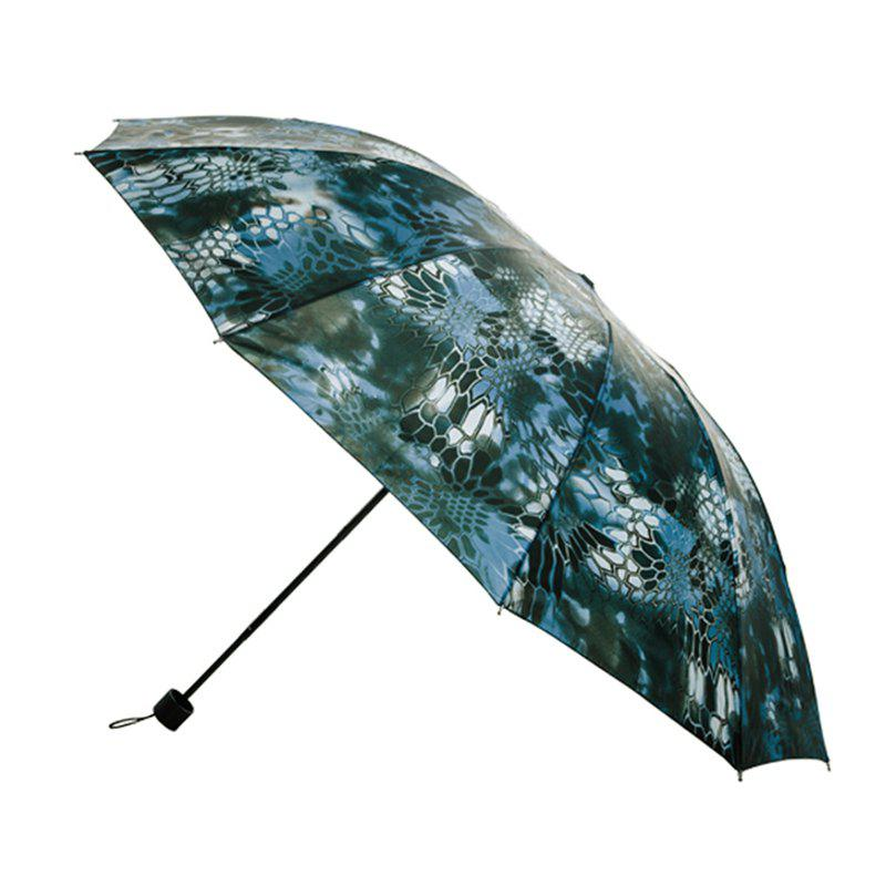 Wind Folding Umbrella Ten Bone Steel Frame 25 Inch Sixty Percent Off Wind Proof Rain Proof Anti Clear - BLUE GREEN