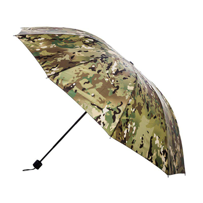 Wind Folding Umbrella Ten Bone Steel Frame 25 Inch Sixty Percent Off Wind Proof Rain Proof Anti Clear - CAMOUFLAGE