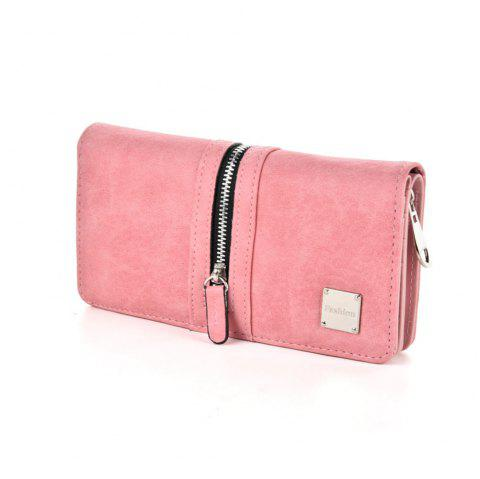 Women's Wallet Solid Color Style All Match Versatile Zipper Decor Bag - PINK