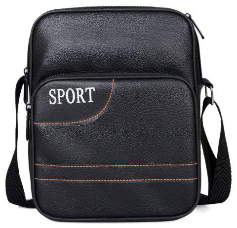 Men Crossbody Bag PU Zipper Business All Match Durable Bag - BLACK