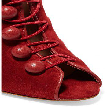2018 New Style Red Flannelette Bare Boots - RED 35