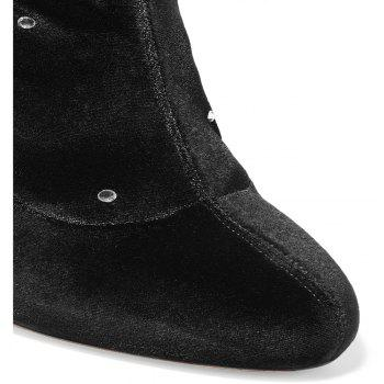 2018 New Simple Black Stretch Flannel High-Heeled Boots - BLACK 38