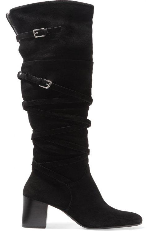 2018 New Black Velvet High Boots - BLACK 38