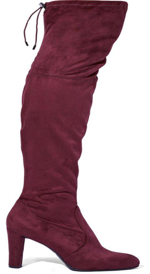 2018 New Simple Deep Red Elastic Flannelette Round High Boots - DEEP RED 35