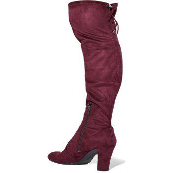 2018 New Simple Deep Red Elastic Flannelette Round High Boots - DEEP RED 41