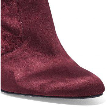 2018 New Simple Deep Red Elastic Flannelette Round High Boots - DEEP RED 38