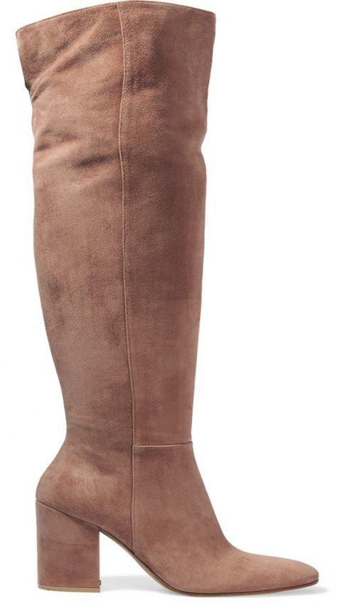2018 New Simple Rough Heel High Boots - TAN 36