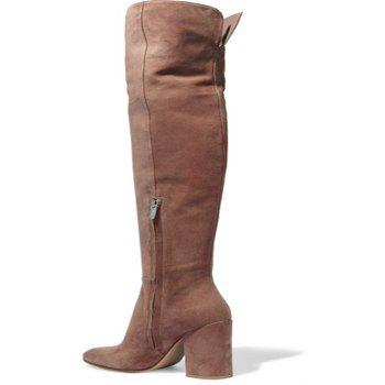 2018 New Simple Rough Heel High Boots - TAN 35