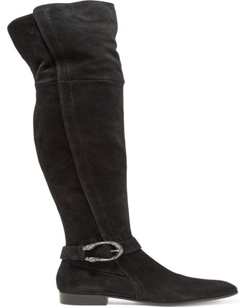 2018 New Black Thin Elastic Flannelette Boots - BLACK 38