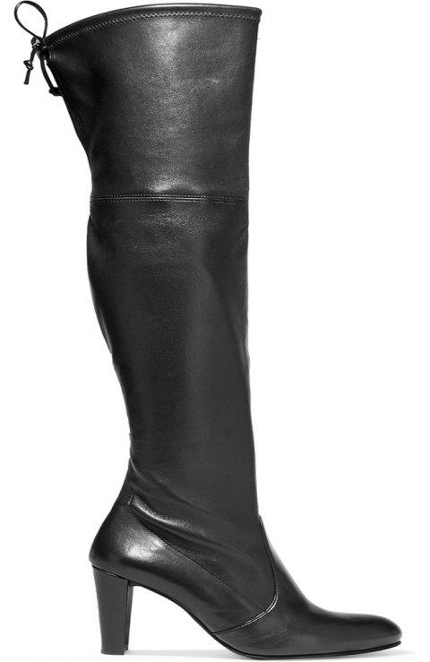 2018 New Black Stretch PU Round Knee Boots - BLACK 35