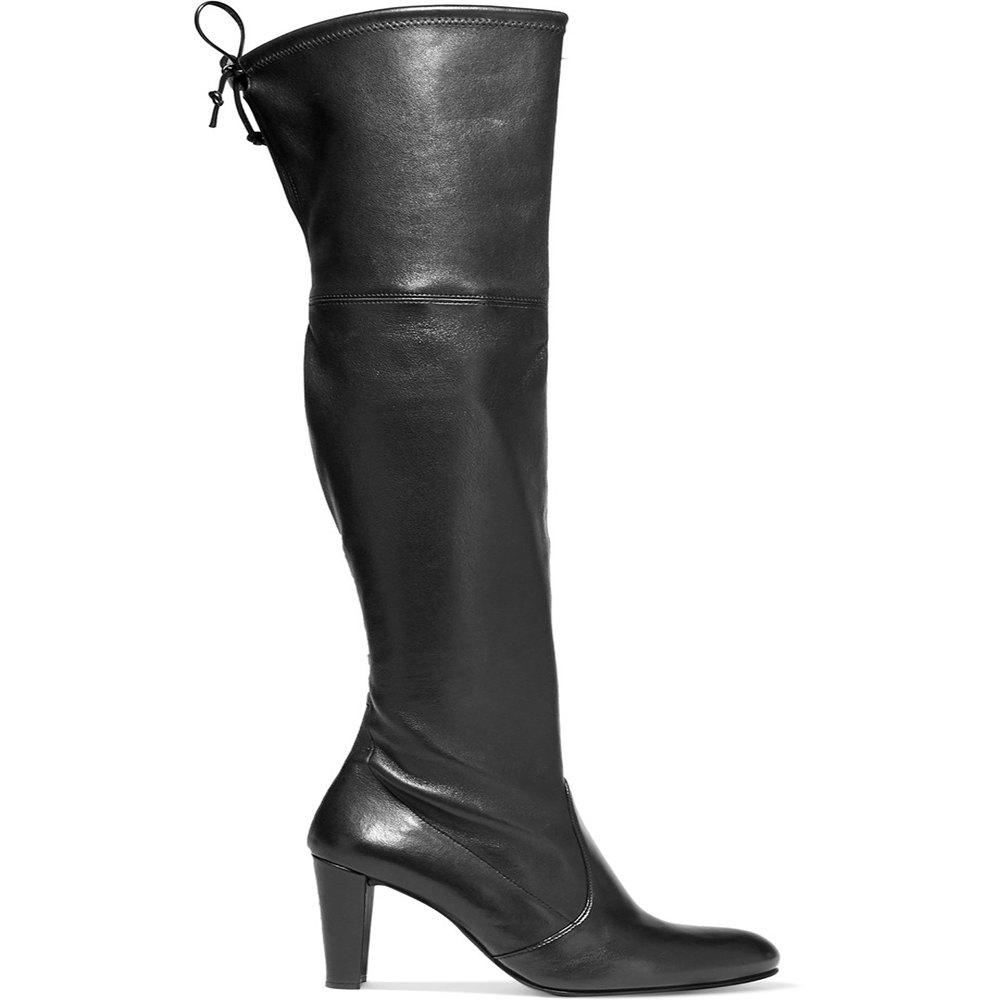 2018 New Black Stretch PU Round Knee Boots - BLACK 38