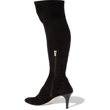 2018 New Simple Black Suede Elastic Knee Boots - BLACK 37