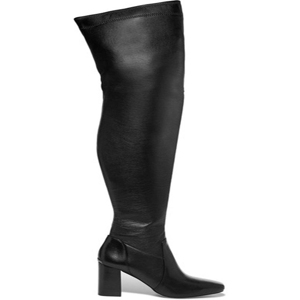 2018 New Black Elastic PU High Heel Boots - BLACK 36