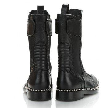 2018 New Fashion Flat Bottomed Rivet Short Boots - BLACK 38
