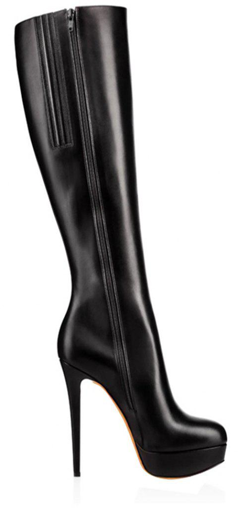 2018 New Sexy Thin Black Water Boots - BLACK 40