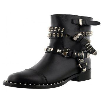 2018 New Fashion Locomotive Rivet Buckle Bottes Courtes - Noir 38