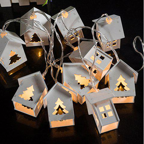 Wood House Christmas Tree String Lights Fairy LED Home Decor Light Home Garden of Battery Powered 1.65M 10 LED - WARM WHITE