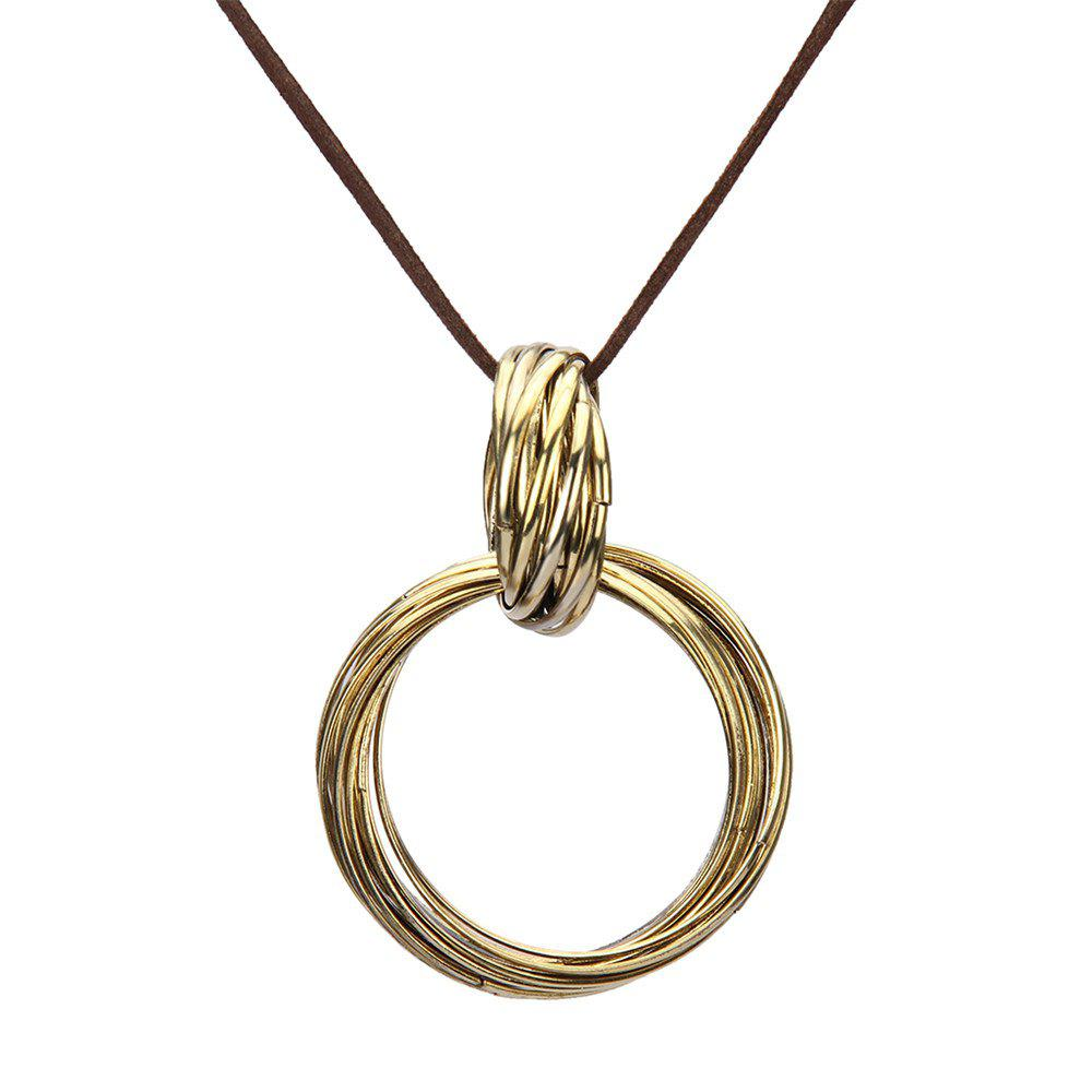Fashion Ornaments Multi Circle Sweater Chain Long Necklace - GOLDEN