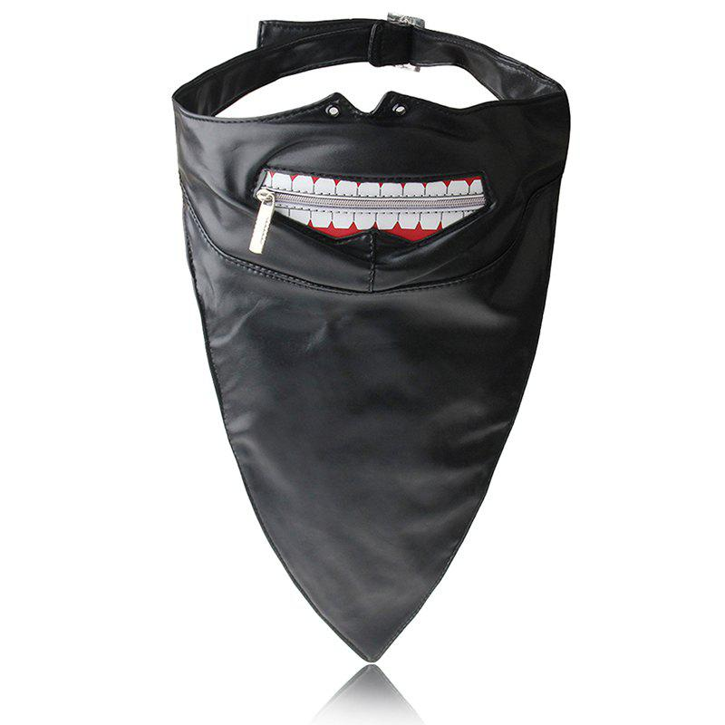 Hot Selling Punk Wind Zipper Dustproof Locomotive Face Mask - BLACK