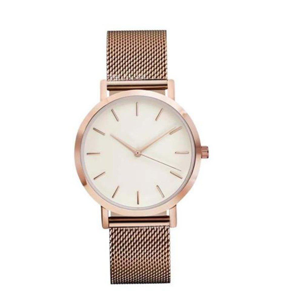 V5 Luxury Fashion Stainless Steel Mesh Unisex Quartz Wrist Watches - ROSE GOLD